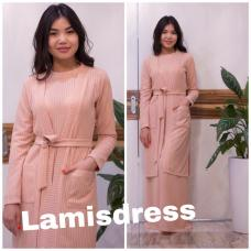 Кардиган + платье с длинными рукавами